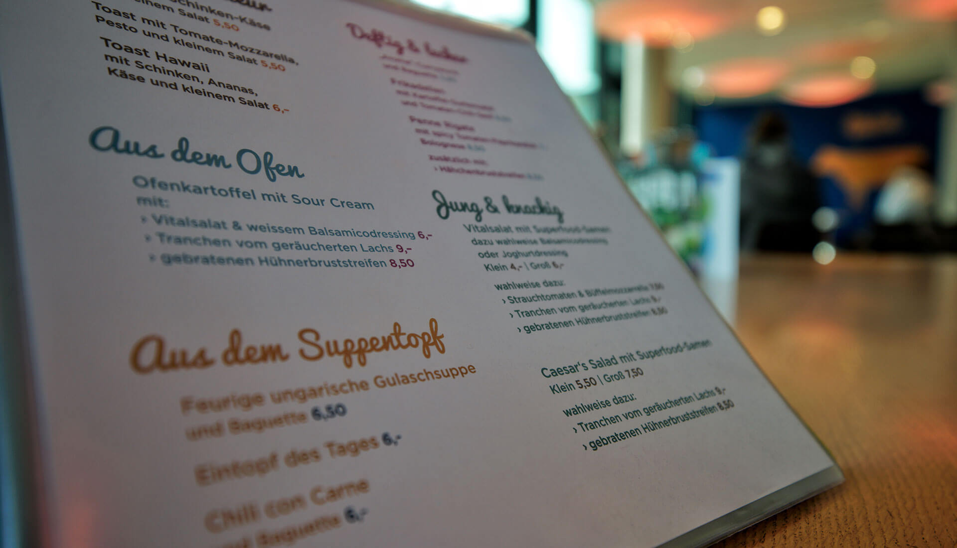 Entdecken Sie vielseitige Snacks und Gerichte auf unserer Speisekarte